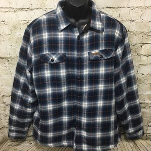 Field & Stream Blue Plaid Sherpa Lined Button Up